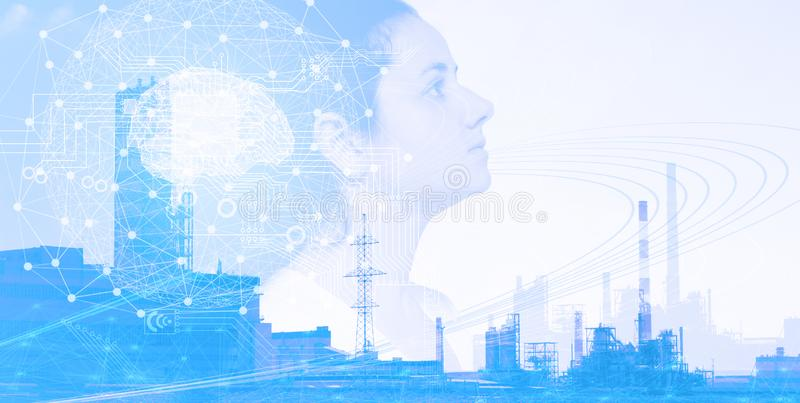 Artificial intelligence concept; implementation in production; future technologies of industry 4.0 for the quickest possible solut royalty free stock photos