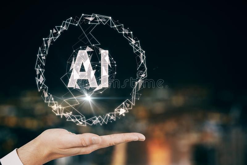 Artificial intelligence concept with man hand and AI letters at city view background vector illustration