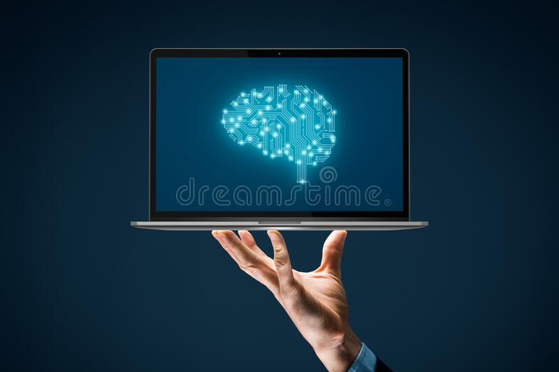 Artificial intelligence concept with notebook. Artificial intelligence AI, machine deep learning, data mining, and another modern computer technologies concepts royalty free stock image