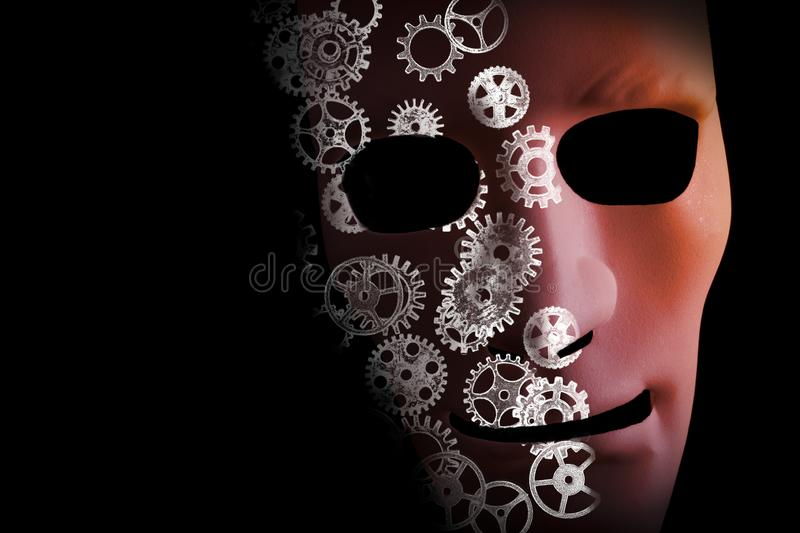 Artificial intelligence concept with robot face vector illustration