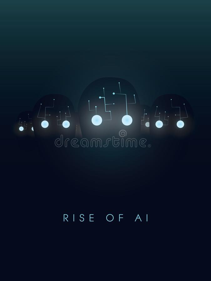 Artificial intelligence concept with robot faces and eyes glow in the dark. Symbol of future, technology, cyborgs and stock illustration