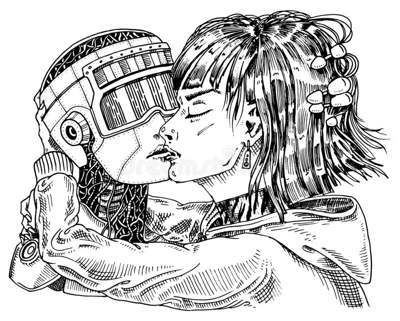 Artificial intelligence concept. Robot and man, Woman and man kiss. Concept love couple. Replicant or Android. Hand. Drawn Future technology. Vintage Engraved royalty free illustration