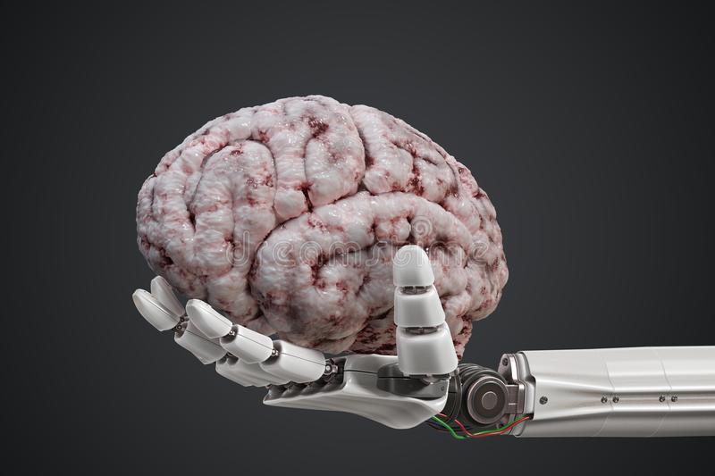 Artificial intelligence concept. Robotic hand is holding human brain. 3D rendered illustration royalty free illustration