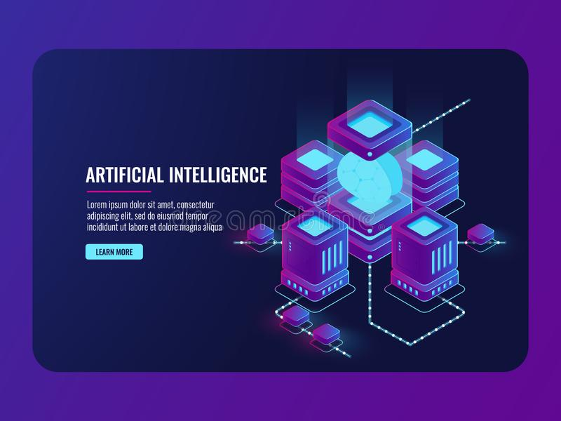 Artificial intelligence concept, server room, big data processing, brain in the incubator, data center. Database isometric vector dark ultra violet neon vector illustration