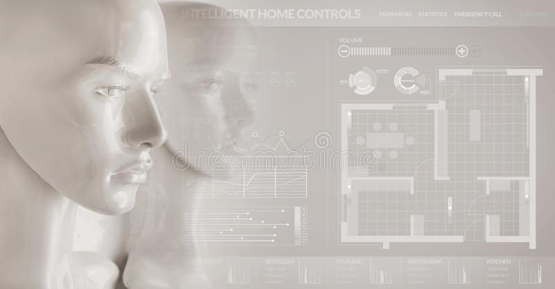 Artificial intelligence concept - smart home. Artificial intelligence concept - smart house royalty free stock image