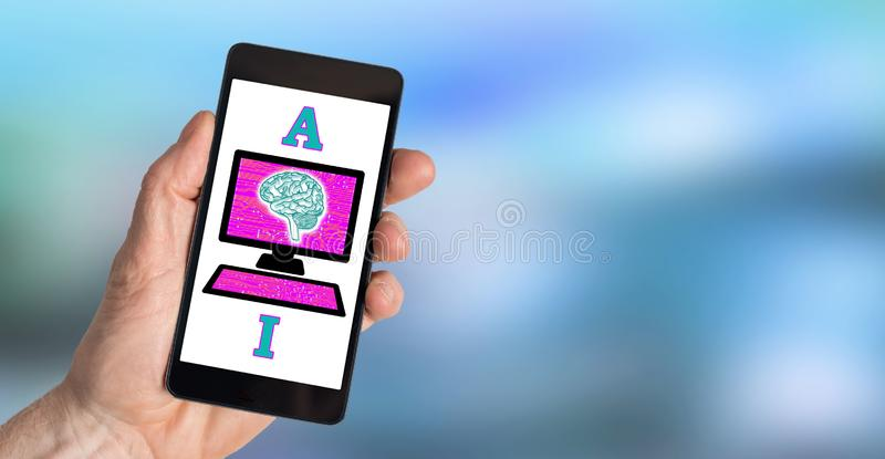 Artificial intelligence concept on a smartphone. Hand holding a smartphone with artificial intelligence concept royalty free stock photo