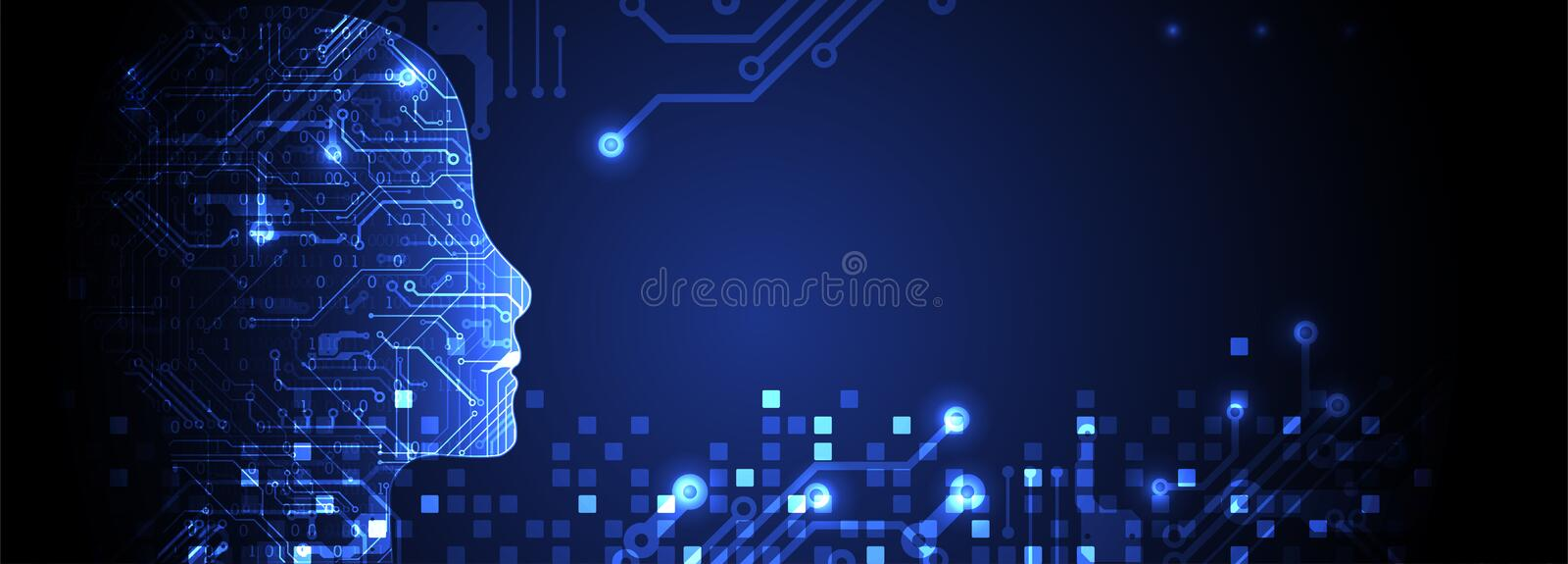 Artificial intelligence concept. Technology background. Artificial intelligence concept. Technology themed dark background. Vector science illustration
