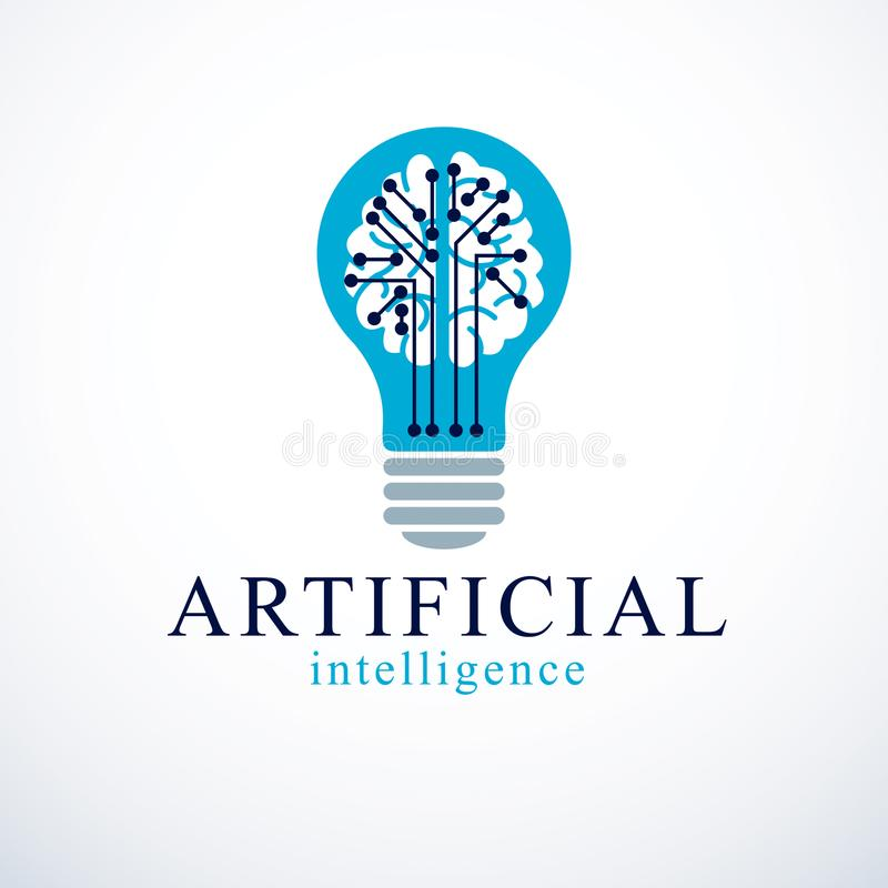 Artificial intelligence concept vector logo design. Human anatomical brain inside of light bulb with electronics technology stock illustration