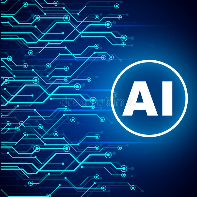 Artificial intelligence concept. Virtual technology web background. Machine learning and cyber mind domination concept. AI with neural network thinks - for stock illustration