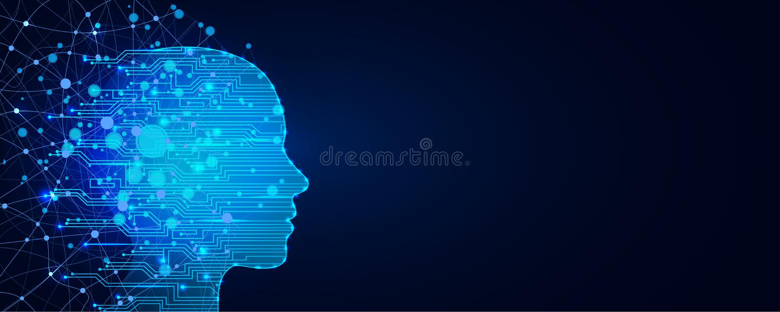 Artificial intelligence concept. Virtual technology web background. Machine learning and cyber mind domination concept royalty free illustration
