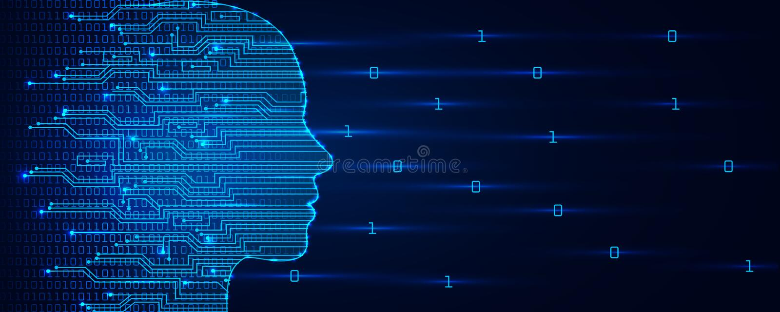 Artificial intelligence concept. Virtual technology web background. Machine learning and cyber mind domination concept. In form of women face. AI in humanoid royalty free stock image