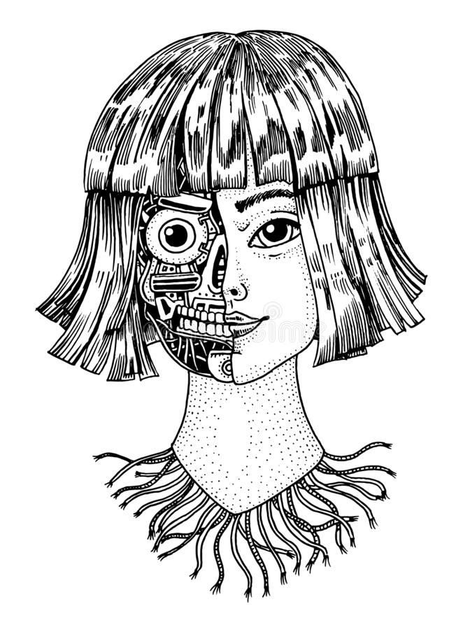 Artificial intelligence concept. A woman with half the face of a robot. Replicant or Android. Hand drawn Future royalty free illustration
