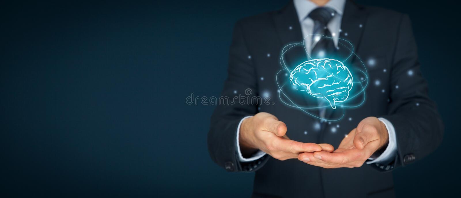 Artificial intelligence and creativity. Artificial intelligence AI, machine deep learning, creativity, headhunter, innovation and intellectual property rights stock image