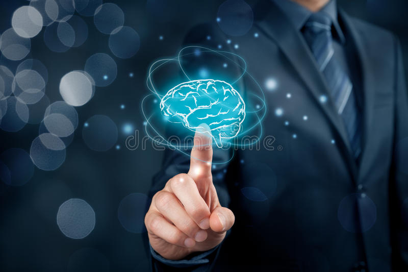 Artificial intelligence and creativity. Artificial intelligence AI, machine deep learning, creativity, headhunter, innovation and intellectual property rights royalty free stock image
