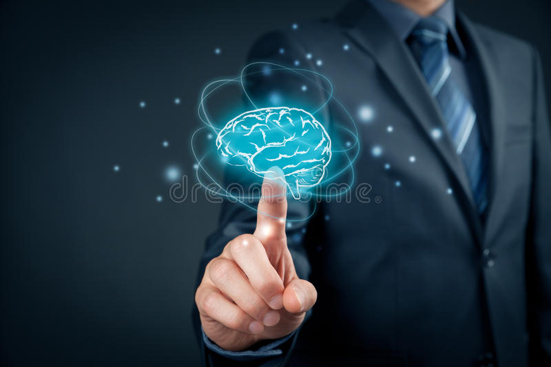 Artificial intelligence and creativity. Artificial intelligence AI, machine deep learning, creativity, headhunter, innovation and intellectual property rights stock photo