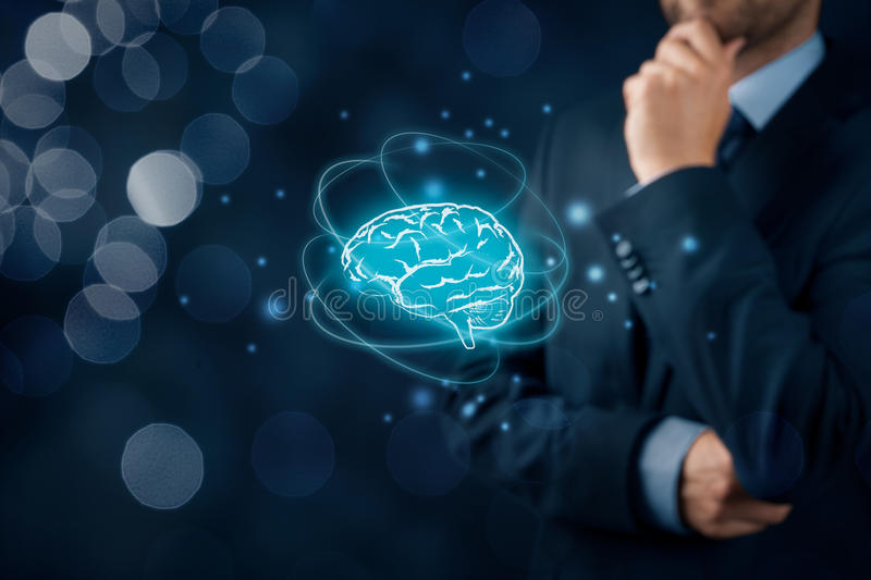 Artificial intelligence and creativity. Artificial intelligence AI, machine deep learning, creativity, headhunter, innovation and intellectual property rights royalty free stock photo