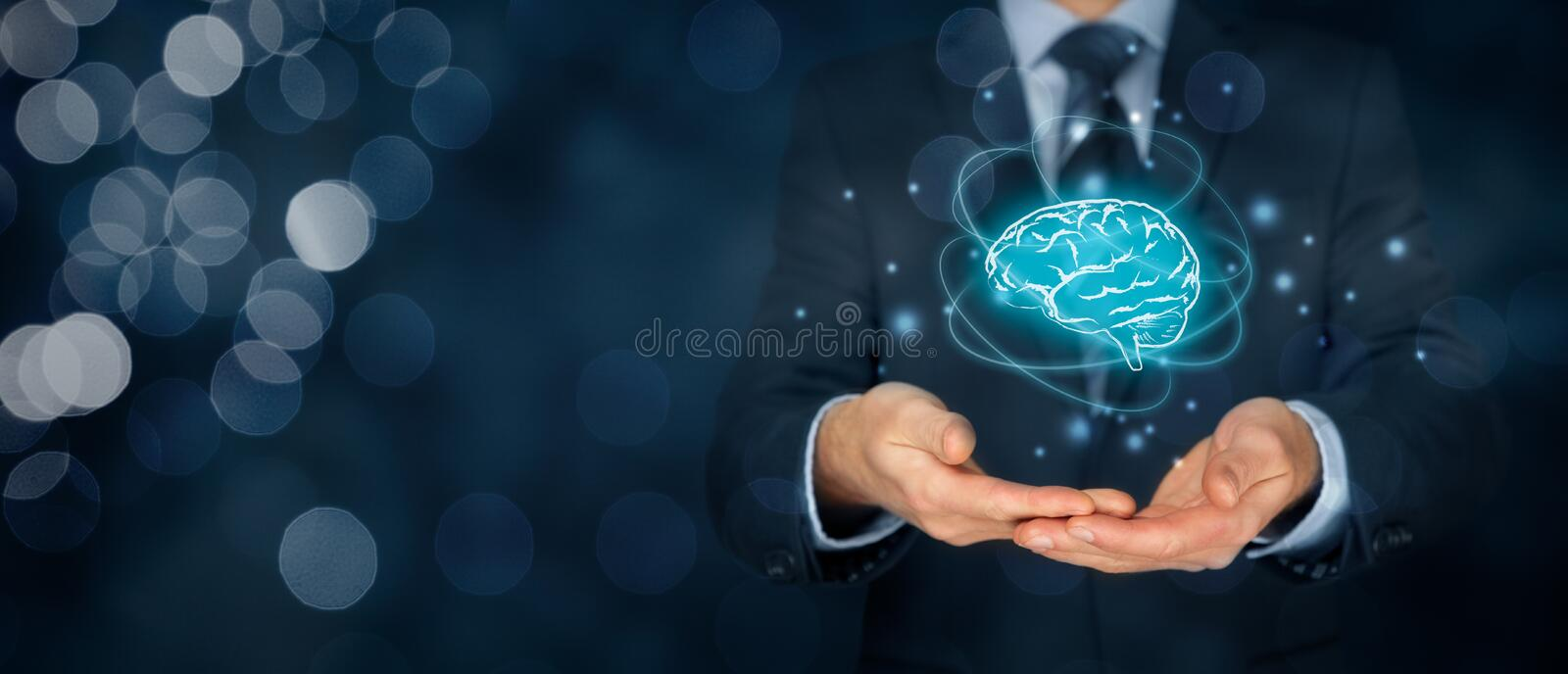 Artificial intelligence and creativity. Artificial intelligence AI, machine deep learning, creativity, headhunter, innovation and intellectual property rights royalty free stock photos