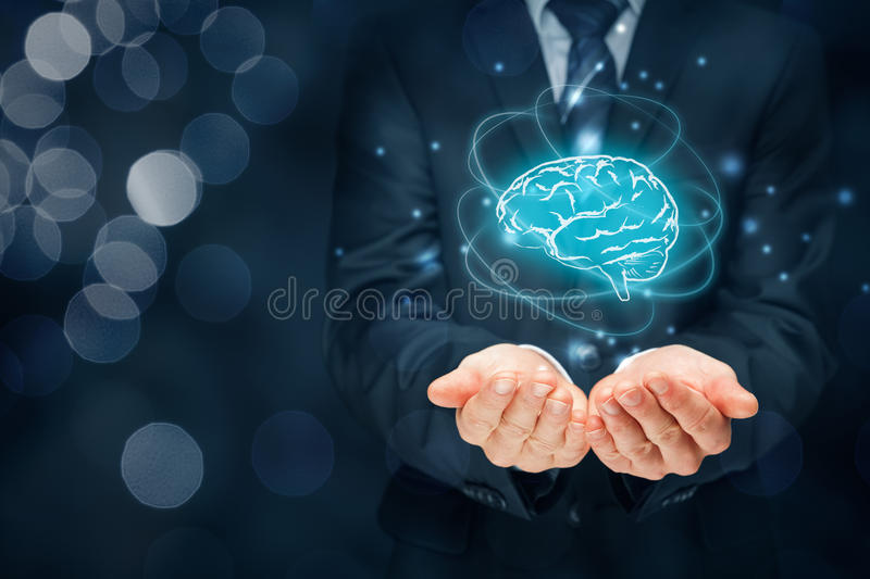 Artificial intelligence and creativity. Artificial intelligence AI, machine deep learning, creativity, headhunter, innovation and intellectual property rights stock images