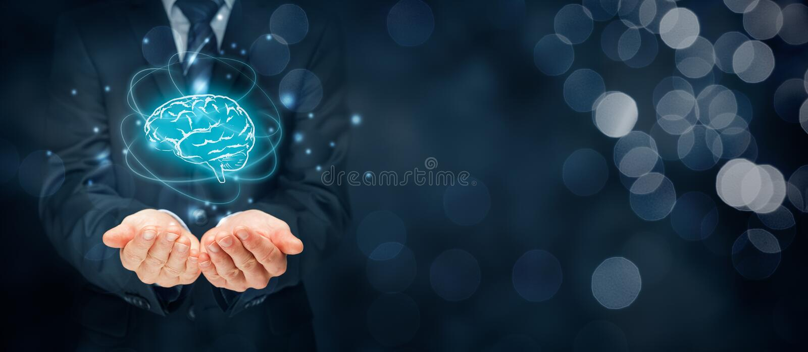 Artificial intelligence and creativity. Artificial intelligence AI, machine deep learning, creativity, headhunter, innovation and intellectual property rights royalty free stock photography