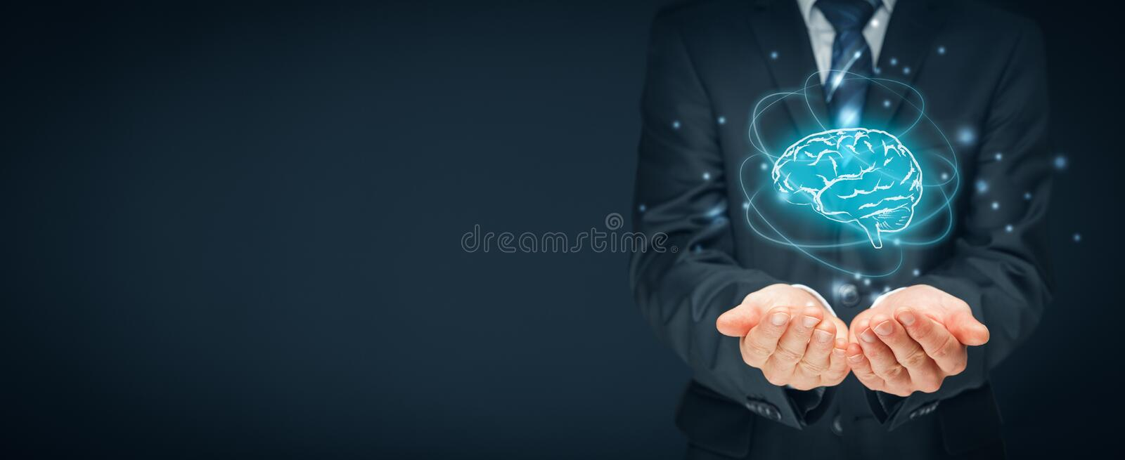 Artificial intelligence and creativity. Artificial intelligence AI, machine deep learning, creativity, headhunter, innovation and intellectual property rights royalty free stock images