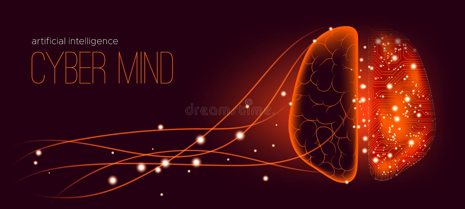 Artificial Intelligence and Cyber Mind Concept. vector illustration