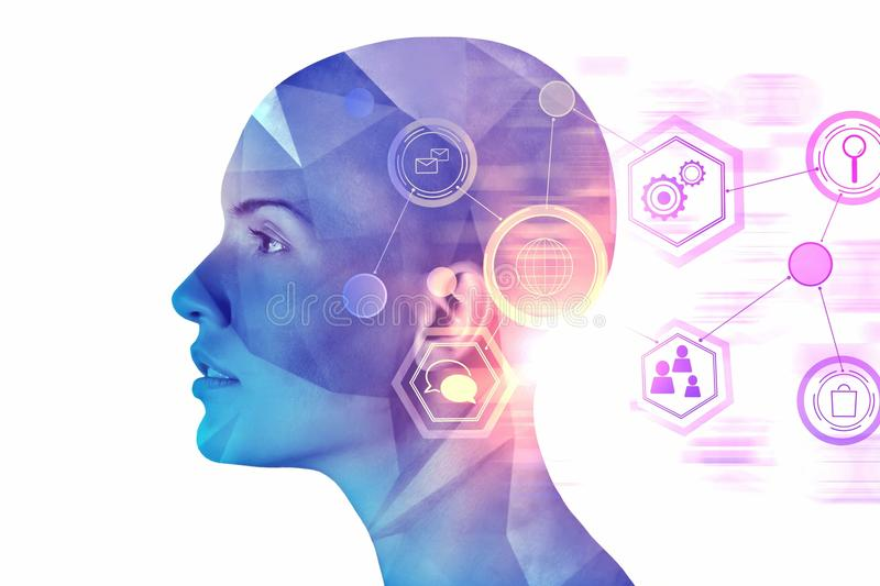 Artificial intelligence and cyberspace concept stock photo