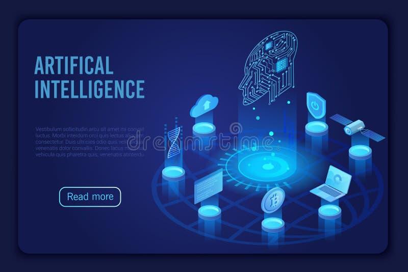 Artificial intelligence dark neon light landing page isometric vector template. Futuristic innovation, cloud computing vector illustration
