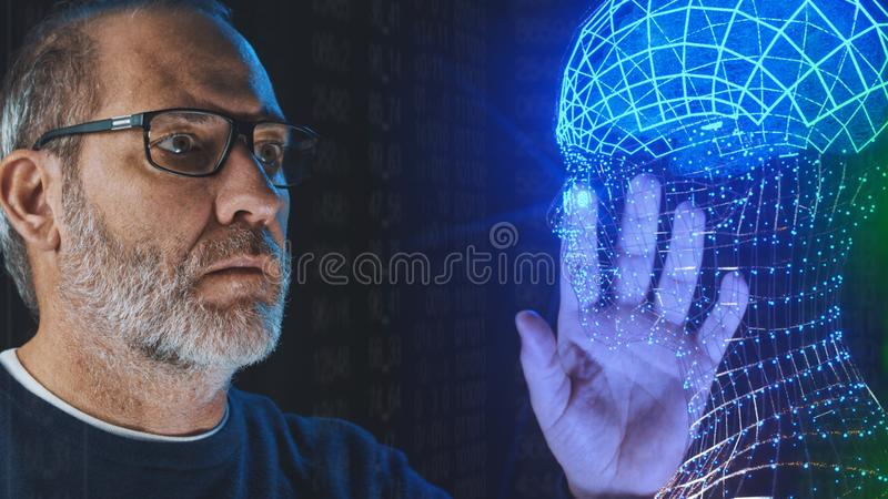 Artificial intelligence deep learning brain simulation. Artificial intelligence brain simulation - deep learning Ai concept royalty free stock image