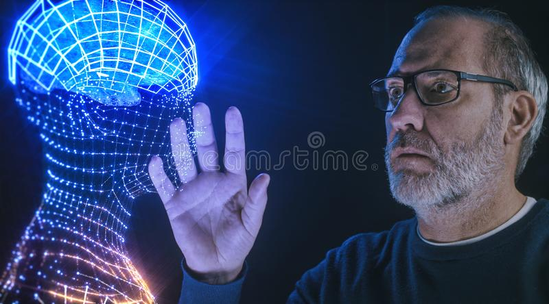 Artificial intelligence deep learning brain simulation. Artificial intelligence brain simulation - deep learning Ai concept royalty free stock photos