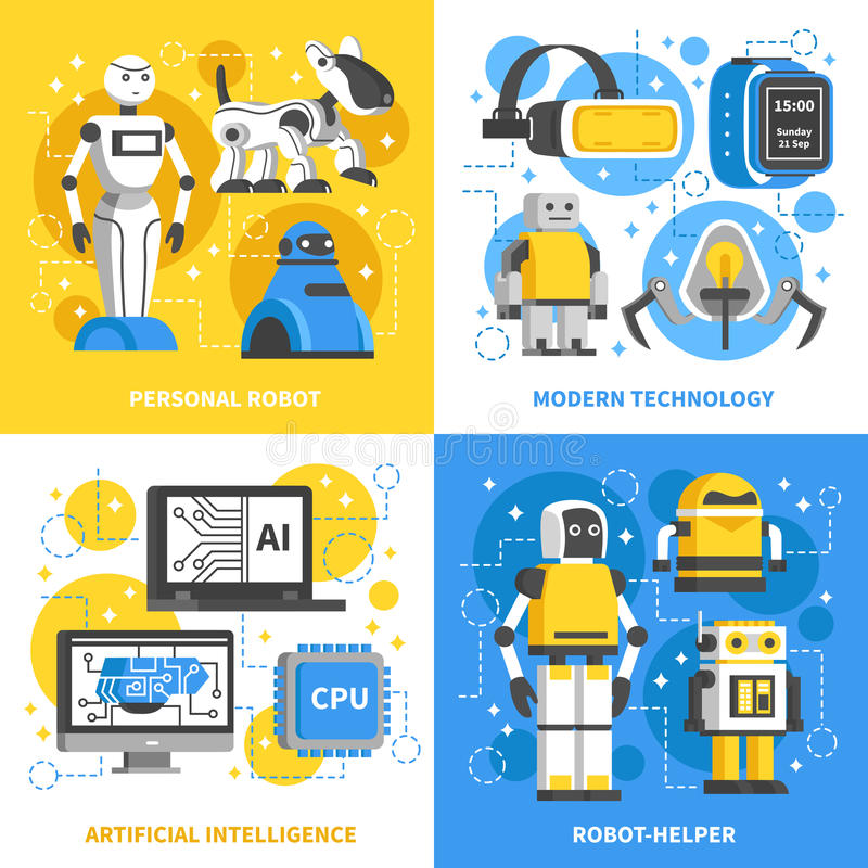 Artificial Intelligence 2x2 Design Concept royalty free illustration