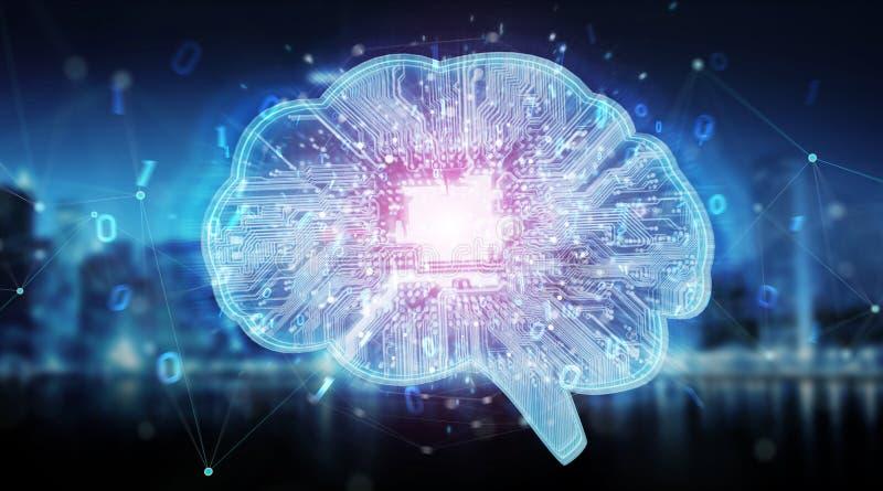 Artificial intelligence in a digital brain background 3D rendering. Artificial intelligence in a digital brain on blue city background 3D rendering vector illustration