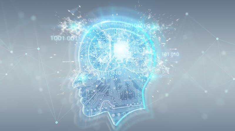 Artificial intelligence digital brain background 3D rendering. Artificial intelligence digital brain on grey background 3D rendering stock illustration