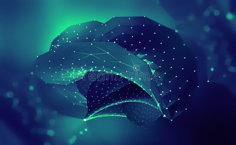 Artificial Intelligence. Digital brain. Computer mind. 3D illustration of a cyber-future vector illustration