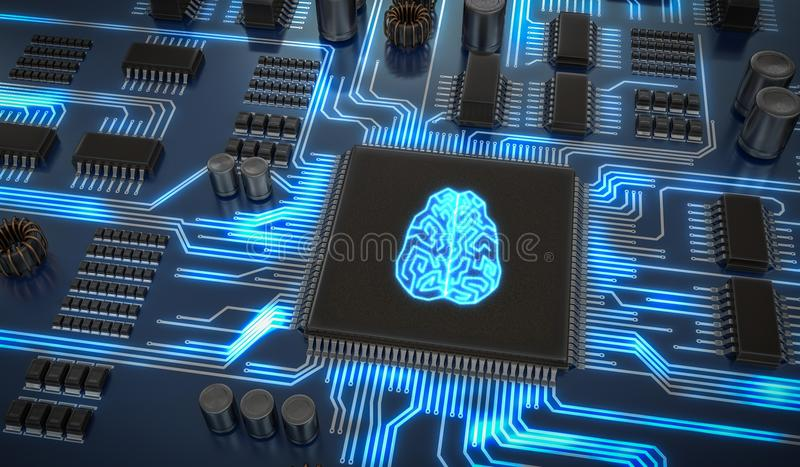Artificial intelligence electronic circuit. Microchip with glowing brain. 3D rendered illustration.  stock illustration