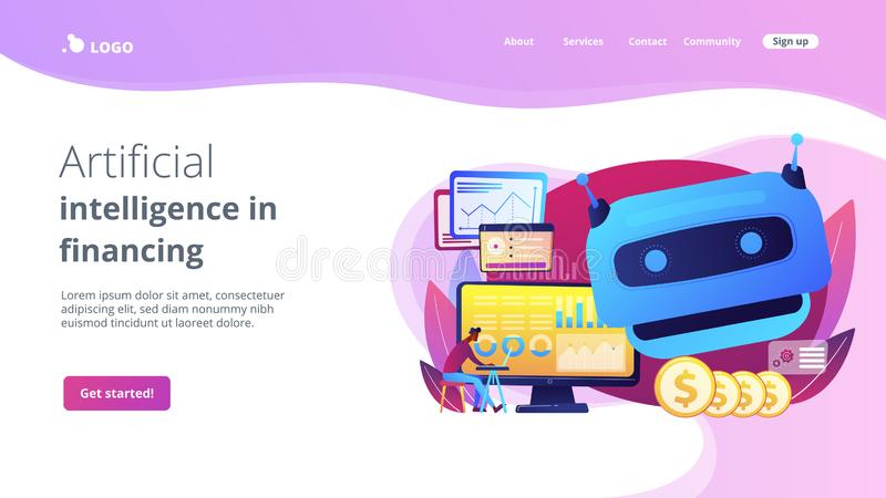 Artificial intelligence in financing concept landing page. Futuristic calculating machine, business analysis assistance. Artificial intelligence in financing royalty free illustration