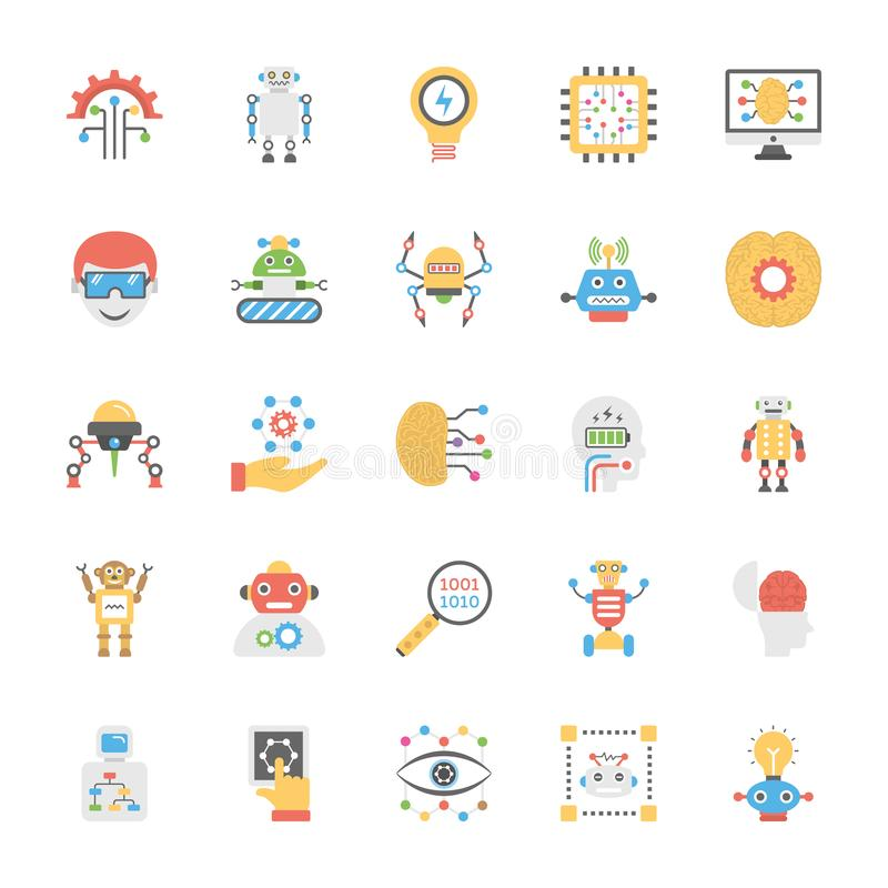Artificial Intelligence Flat Vector Icon Pack vector illustration