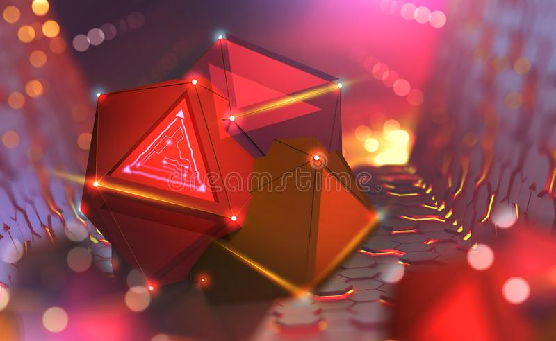 Artificial Intelligence and Future processor. Big Data Concept. Computer Mind and Quantum Architecture 3D Illustration royalty free illustration