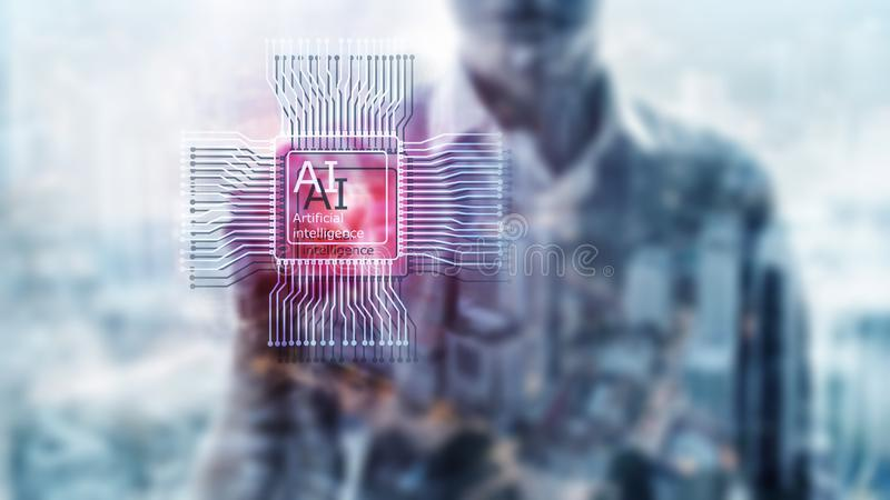 Artificial intelligence Future Technology. Blurred abstract blue background. People silhouettes stock photos