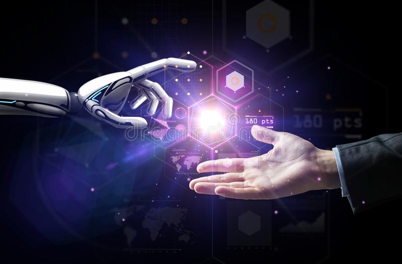 Robot and human hand over virtual projection royalty free stock image