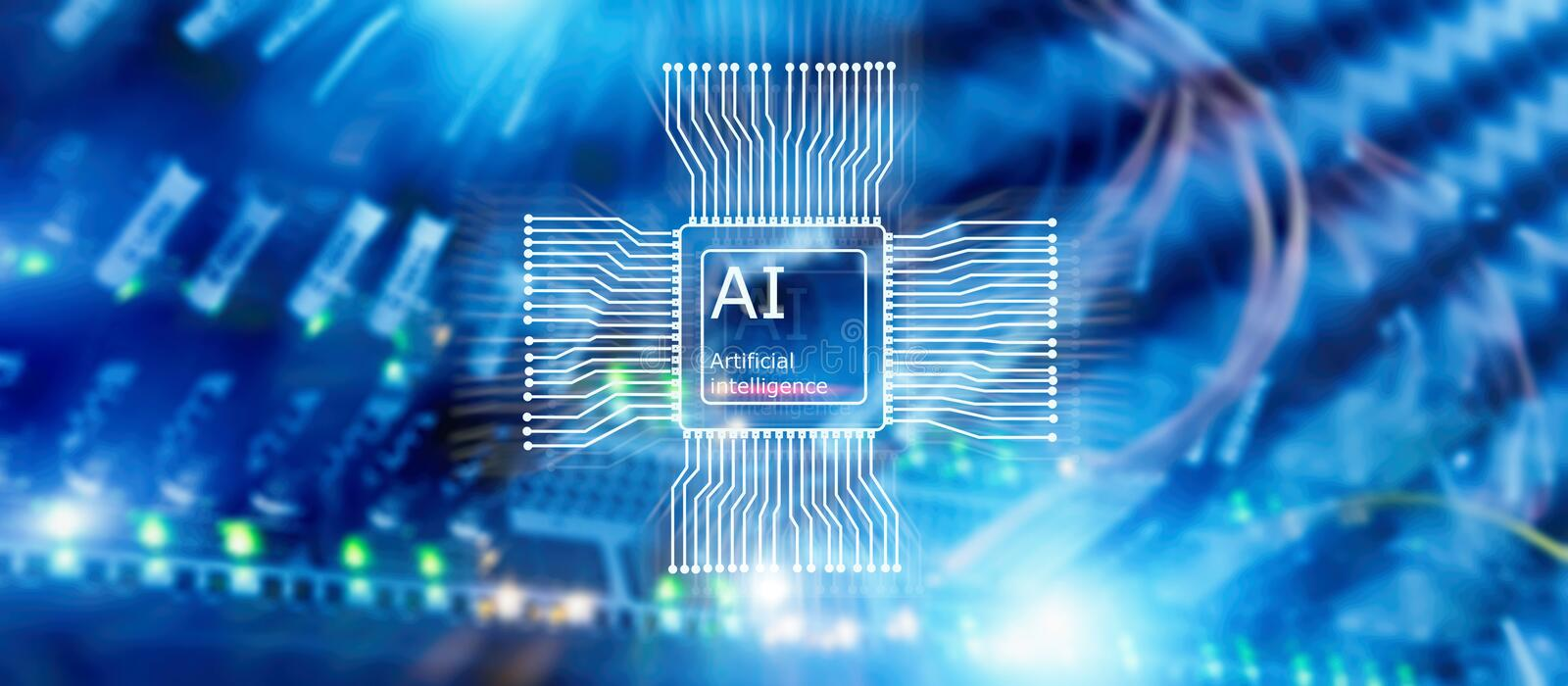 Artificial intelligence Future Technology. Communication Network concept. Blurred modern datacenter background stock images