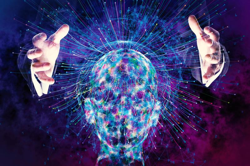 Artificial intelligence and futuristic concept. Male hands holding abstract glowing polygonal head background with neurons. Artificial intelligence and
