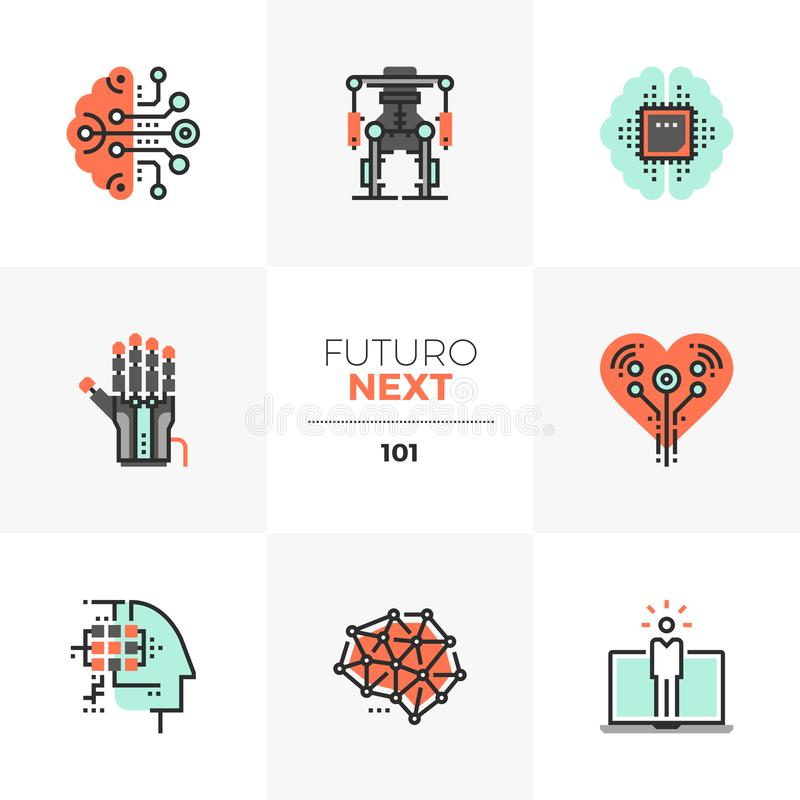 Artificial Intelligence Futuro Next Icons royalty free illustration