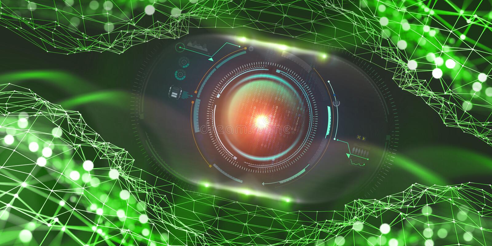 Artificial intelligence in the global network. Digital technologies of the future. Computer Mind Control. 3D illustration on tech background royalty free illustration