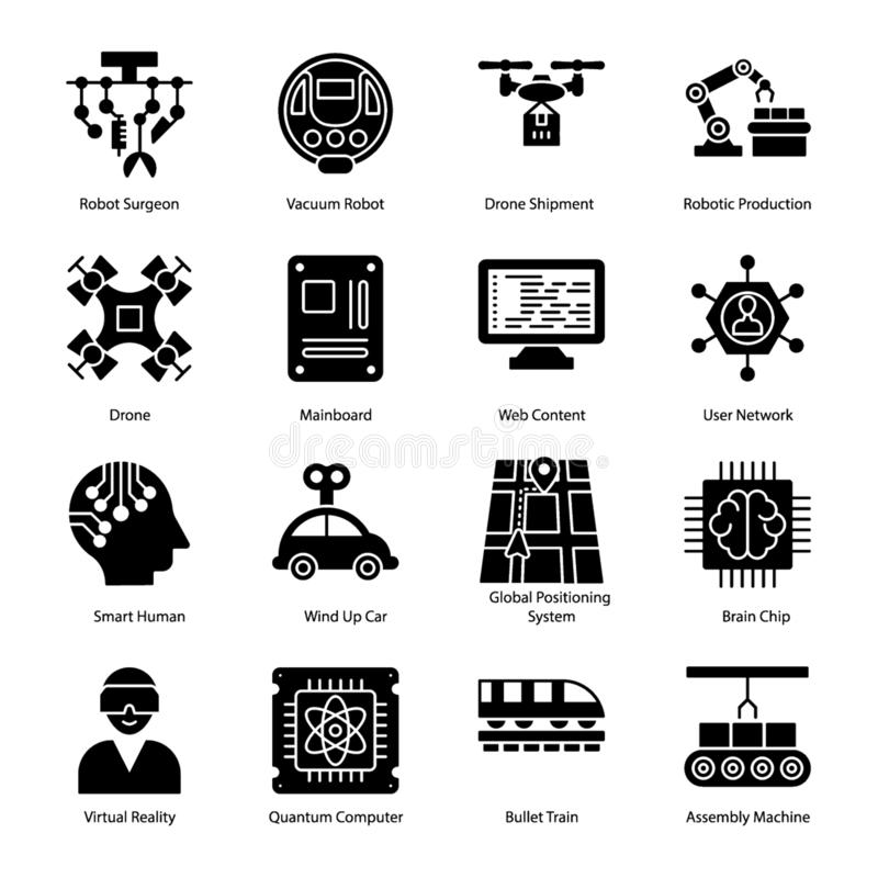 Artificial Intelligence Glyph Icons stock illustration