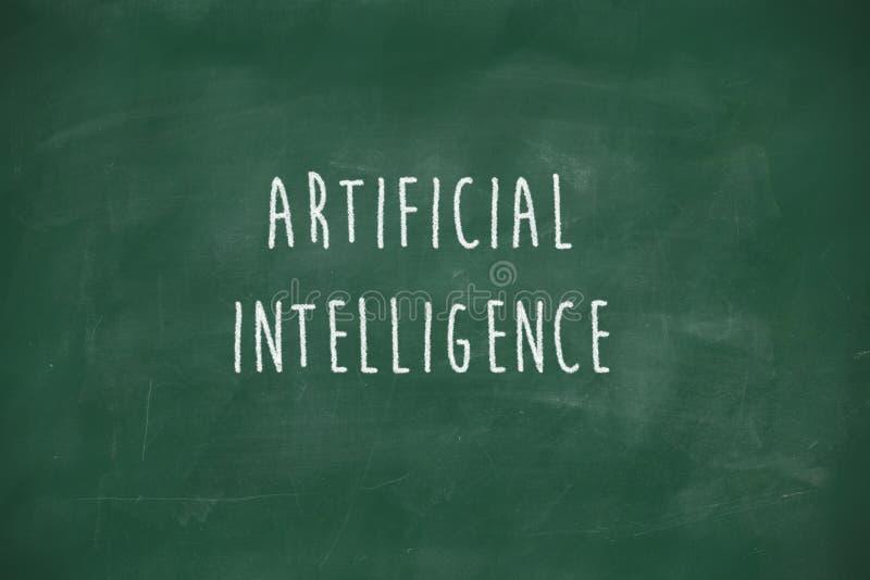 Artificial intelligence handwritten on blackboard royalty free stock photo