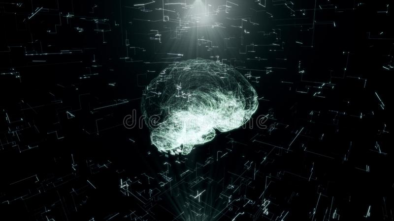 Artificial intelligence Hologram of Human Brain scan AI concept Glowing Light Particles Arranged in the Formation of royalty free stock photos