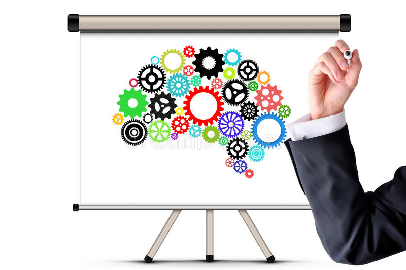 Artificial intelligence with human brain shape and gears royalty free stock image