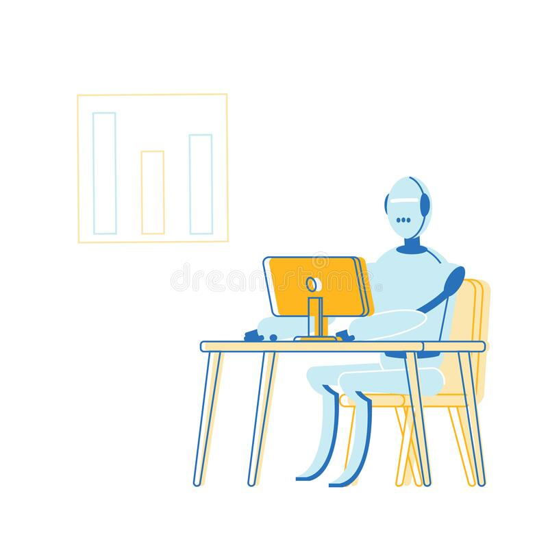 Artificial Intelligence in Human Life Concept. Robot Sitting at Desk with Computer Working in Office. Futuristic Technologies, Smart Devices, Automatization stock illustration