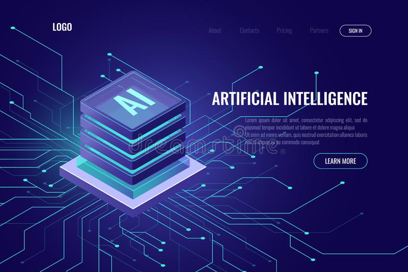 Artificial intelligence icon AI, isometric cloud computing concept, data mining, isometric, neural network, machine vector illustration