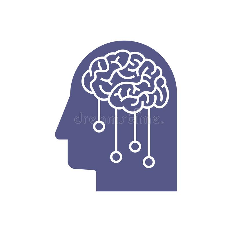Artificial Intelligence icon. Deep machine learning concept stock illustration